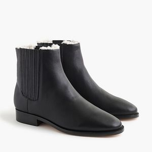 J. Crew - Sherpa-lined Black Leather Chelsea Boots